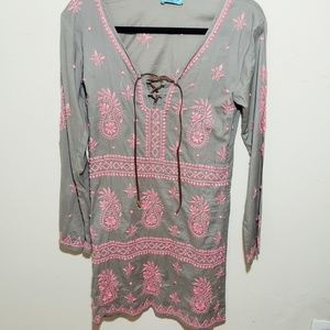 New Letarte Embroided Lace-up Tunic Dress